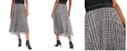 Marella Shaila Metallic Plaid Pleated Skirt