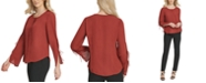 DKNY Tie-Sleeve Button-Neck Top