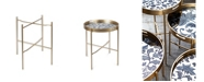 The GG Collection 27.97-Inch Tall Etched Floral Collection Round Tray Table Legs