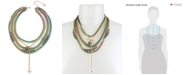 "BCBGeneration Two-Tone Crystal & Imitation Pearl Multi-Row Statement Necklace, 16"" + 3"" extender"