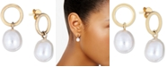 Macy's Cultured Freshwater Pearl (10 x 12mm) Drop Earrings in 14k Gold-Plated Sterling Silver