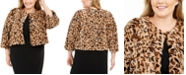 Calvin Klein Plus Size Printed Faux-Fur Shrug
