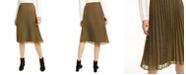 Maison Jules Pleated Metallic Midi Skirt, Created for Macy's