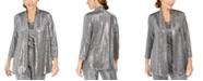 Kasper Metallic Open-Front Jacket