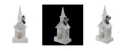 "Northlight 16.5"" LED Lighted White Wooden Snowy Church Christmas Decoration"