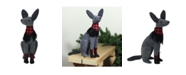"""Northlight 14.5"""" Gray and Red Sitting Dog with Plaid Collar Christmas Decoration"""