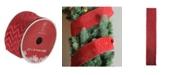 "Northlight Wine Red Glitter Chevron Burlap Wired Christmas Craft Ribbon 2.5"" x 10 Yards"