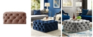 INSPIRED HOME Madeline Upholstered Tufted Allover Square Cocktail Ottoman