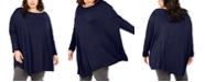 NY Collection Plus Size Boat-Neck Asymmetrical Top