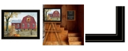 "Trendy Decor 4U Autumn Leaf Quilt Block Barn by Billy Jacobs, Ready to hang Framed Print, Black Frame, 27"" x 21"""