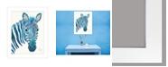 "Trendy Decor 4U Blue Zebra by Lisa Morales, Ready to hang Framed Print, White Frame, 15"" x 19"""