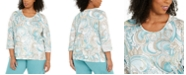 Alfred Dunner Plus Size Cottage Charm Beaded Top