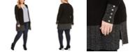 Belldini Plus Size Open-Front Metallic-Trim Cardigan