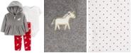 Carter's Baby Girls 3-Pc. Hooded Jacket, Dot-Print Bodysuit & Unicorn-Print Pants Set