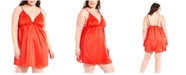 iCollection Plus Size Satin with Lace Chemise Nightgown, Online Only