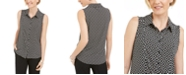Kasper Chain-Print Button-Up Sleeveless Shirt