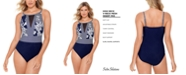 Swim Solutions Rosie Naut High-Neck Mesh-Insert Tummy Control One-Piece Swimsuit, Created for Macy's