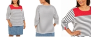 Karen Scott Plus Size Stripes & Dots Top, Created for Macy's