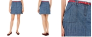 Karen Scott Petite Belted Chambray Skort, Created For Macy's