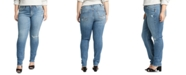 Silver Jeans Co. Plus Size Avery Ripped Slim-Leg Jeans
