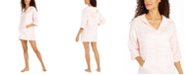 Carol Hochman Printed Silky Plush Hooded Lounge Top