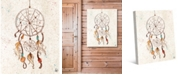 """Creative Gallery Dreamcatcher with Feathers on Light Tan 20"""" x 16"""" Canvas Wall Art Print"""