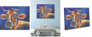 "Creative Gallery Mucca Carolina Friendly Cow on Blue 36"" x 24"" Canvas Wall Art Print"