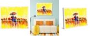 "Creative Gallery Golden Morning Walk with Umbrella Abstract 24"" x 20"" Canvas Wall Art Print"