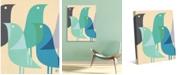 "Creative Gallery Retro Bird Caravan in Blue 36"" x 24"" Canvas Wall Art Print"