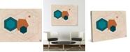 "Creative Gallery Retro Cerulean Core Hexagons Abstract 20"" x 16"" Canvas Wall Art Print"