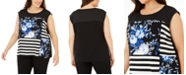 Calvin Klein Plus Size Sleeveless Mixed-Print Top