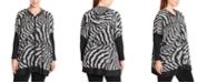 Joseph A Plus Size Zebra-Knit Hooded Zip-Front Poncho