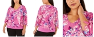 JM Collection Plus Size Printed Layered-Look Necklace Top, Created for Macy's