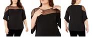 Belldini Plus Size Dotted-Mesh-Yoke Top