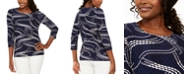 JM Collection Petite Ivy Printed Jacquard Top, Created For Macy's
