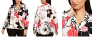 Alfani Plus Size Floral-Print Surplice Top, Created for Macy's