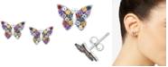 Macy's Multi-Gemstone Butterfly Stud Earrings (7/8 ct. t.w.) in Sterling Silver