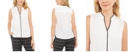 Calvin Klein Sleeveless Piped Shell Top