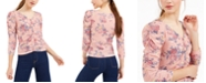 Crave Fame Juniors' Ruched Floral Top