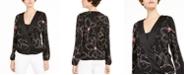Alfani Printed Surplice-Neck Blouse, Created for Macy's
