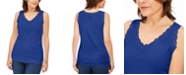 Karen Scott Plus Size Cotton Scalloped-Lace Tank Top, Created for Macy's