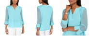 Charter Club Split-Sleeve Solid Knit Top, Created for Macy's