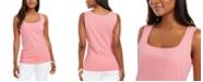 Karen Scott Square-Neck Cotton Tank Top, Created For Macy's