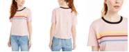 Rebellious One Juniors' Cotton Rainbow-Striped Graphic T-Shirt