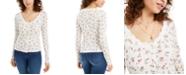 Ultra Flirt Juniors' Lace-Trim Floral-Print Pointelle Top
