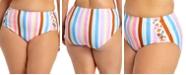 California Waves Trendy Plus Size Striped High-Waist Bikini Bottoms, Created for Macy's