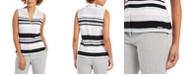 Calvin Klein Petite Striped V-Neck Top