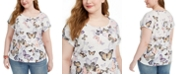 Style & Co Plus Size Butterfly-Print T-Shirt, Created for Macy's