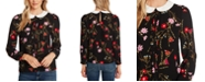 CeCe Collared Floral-Print Top