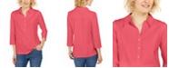 Charter Club Supima® Cotton 3/4-Sleeve Polo, Created for Macy's